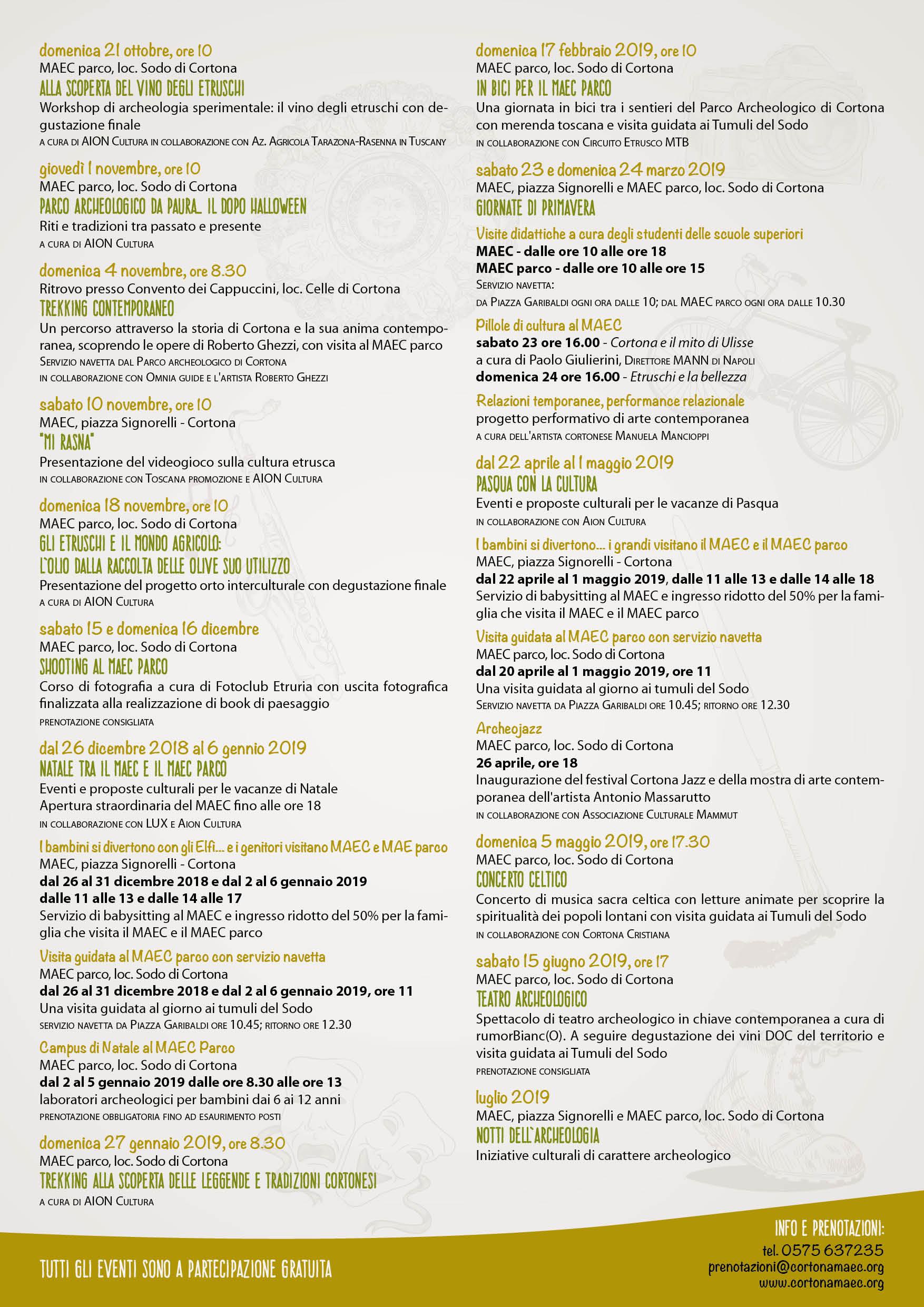 Programma di tutti gli eventi gratuiti