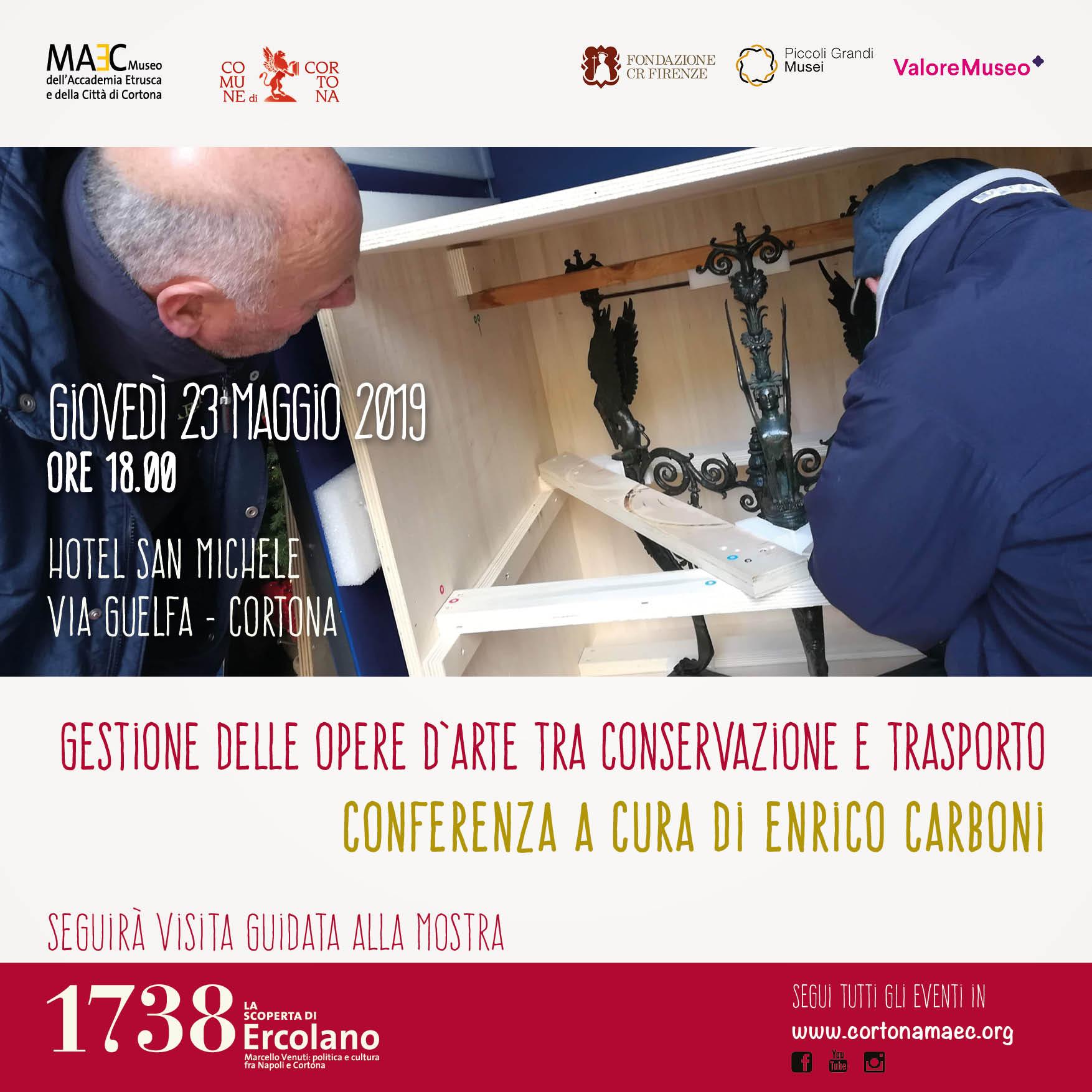 incontrarsi a maggio.Enrico Carboni di Art Defender parlerà della gestione delle opere d'arte, tra conservazione e trasporto